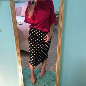 Polka dotted pencil skirt!